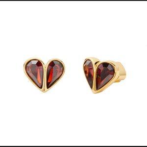 Red Solid Stone Heart Stud Earrings